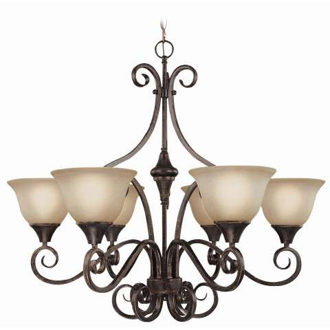 Craftmade Exteriors Torrey - Burnished Armor 6 Light Chandelier in Burnished Armor