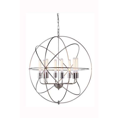 "1453 Vienna Collection Pendant lamp D:32"" H:33"" Lt:8 Polished Nickel Finish"