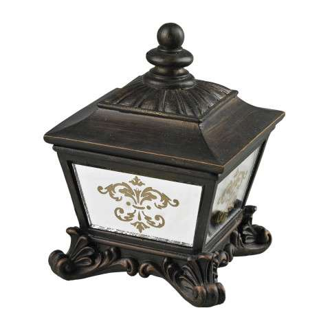 Sterling Furnishings 87-8003 Bronze Box With Damask Printed Mirror