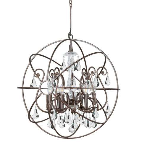 Crystorama 9028-EB-CL-MWP Chandelier with hand-painted wrought iron sphere and a crystal chandelier dressed with clear hand-cut crystals.