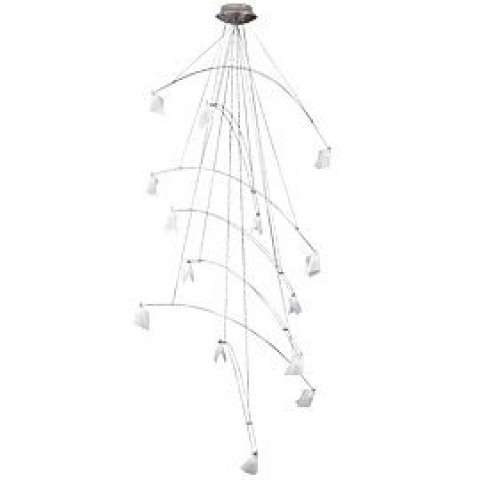 "Tech Lighting 700CRES48S 14-light Standard 48"" W x 96"" L Crescendo Chandelier fixture in Satin Nickel"