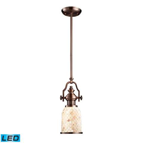 Chadwick 1-Light Pendant In Antique Copper And Cappa Shell - LED Offering Up To 800 Lumens (60 Wa…