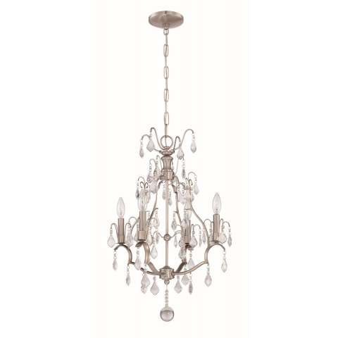 4 Light Mini Chandelier in Brushed Polished Nickel