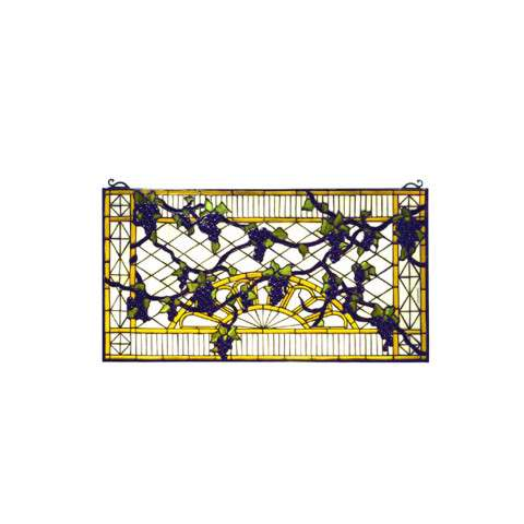 Meyda Tiffany 79789 Grape Diamond Trellis Stained Glass Window