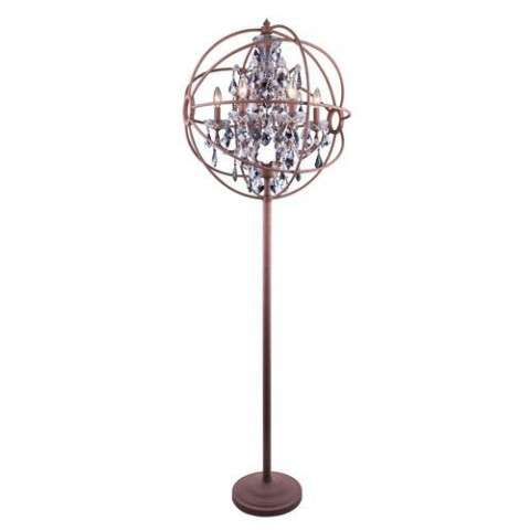 "1130 Geneva Collection Floor Lamp D:24"" H:71.5"" Lt:6 Rustic Intent Finish (Royal Cut Silver Shade Crystals)"