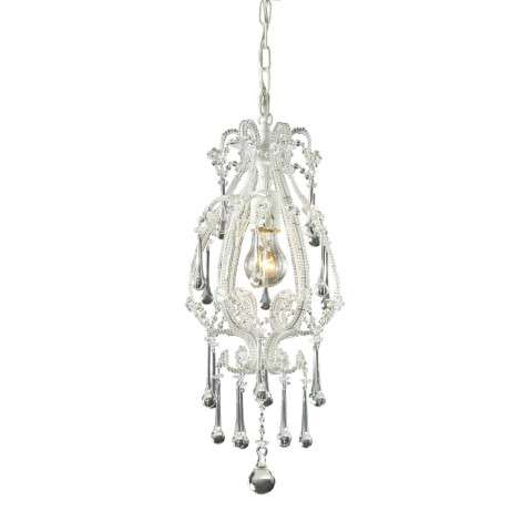 Elk Lighting 12003/1CL Opulence 1-Light Pendant In Antique White And Clear Crystals