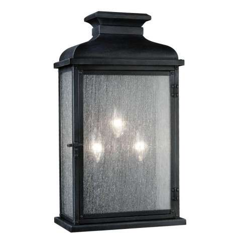 Pediment 2 - Light Outdoor Sconce in Dark Weathered Zinc