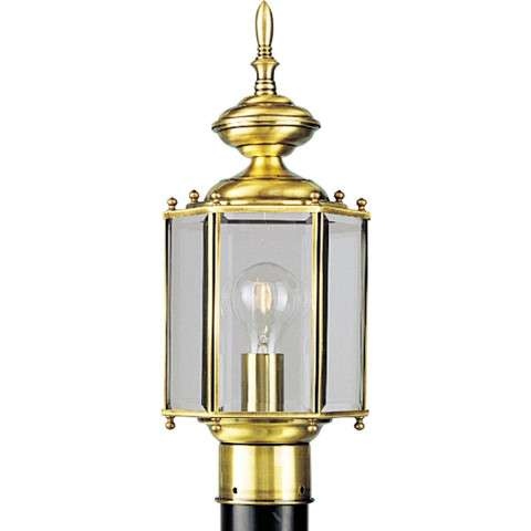 Progress P5430-10 One-light post lantern in Polished Brass finish with clear beveled glass.