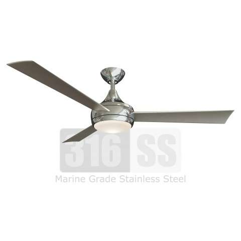 Matthews Fan Co. Donaire Ceiling Fan Model DA-BS in 316 Marine Grade Brushed Stainless Steel - Shown With Light