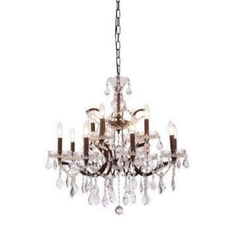 1138 Elena Collection Pendant Lamp D:26in H:25.5in Lt:12 Rustic Intent Finish Royal Cut Crystal (Clear)