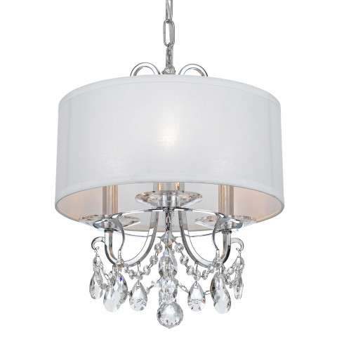Crystorama Othello 3 Light Clear Crystal Polished Chrome Mini Chandelier