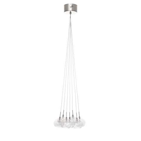 ET2 Contemporary Lighting E20114-24 Starburst 7-light Multi-Light Pendant in Satin Nickel/Polished Chrome finish with Clear glass