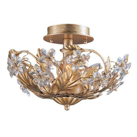 Crystorama 5305-GL Abbie Collection Hand Cut Crystal Semi Flush