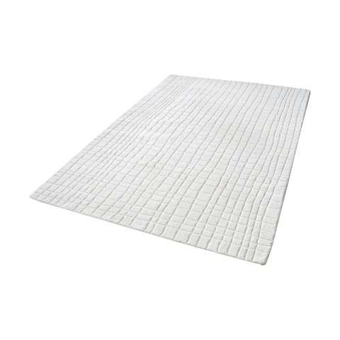Blockhill Handwoven Wool Rug In Cream - 5ft x 8ft