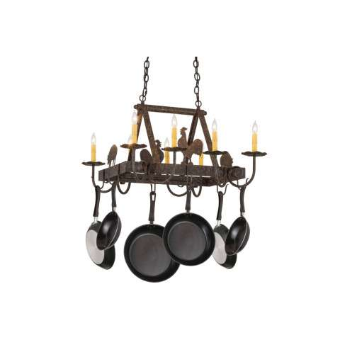 "27"" L Barn Animals 8 Lt Pot Rack - Custom Crafted In Yorkville - New York Please Allow 30 Days"