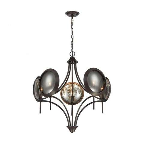 Cadabra Chandelier In Oiled Bronze Finish With Plated Smoke Glass