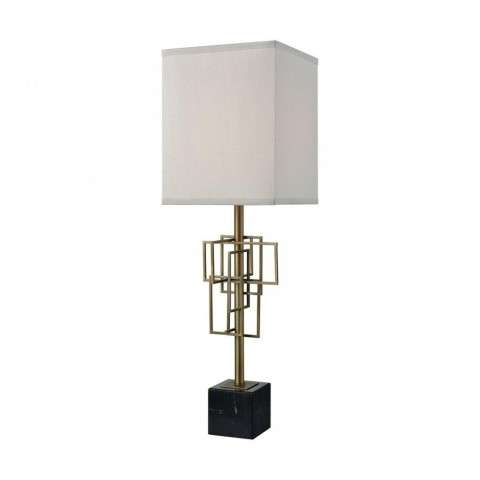 Hollywood Squarze Table Lamp In Black Marble