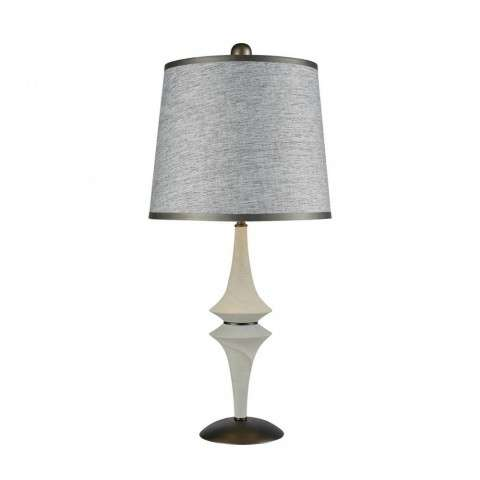 Tryst Table Lamp In Concrete And Matte Black