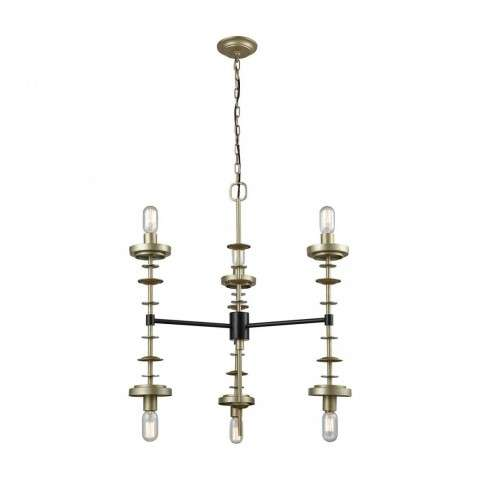 Orion Six Light Pendant In Antique Gold Leaf