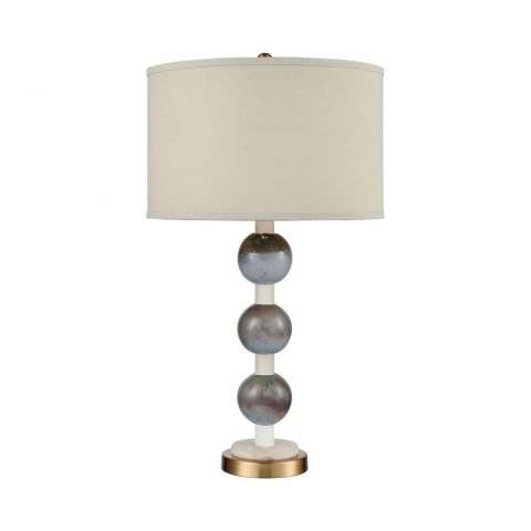 Joyaux Table Lamp In Cafe Bronze - White Marble And Marine Glass