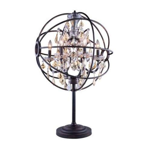 "1130 Geneva Collection Table Lamp D:22"" H:34"" Lt: Dark Bronze Finish (Royal Cut Golden Teak  Crystals)"