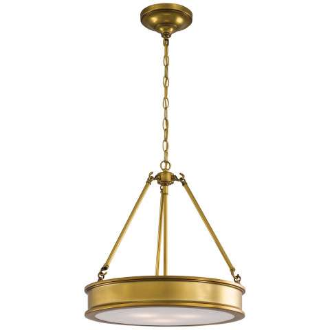 Minka Lavery 3 Light Pendant In Liberty Gold Finish W/ Etched White Glass
