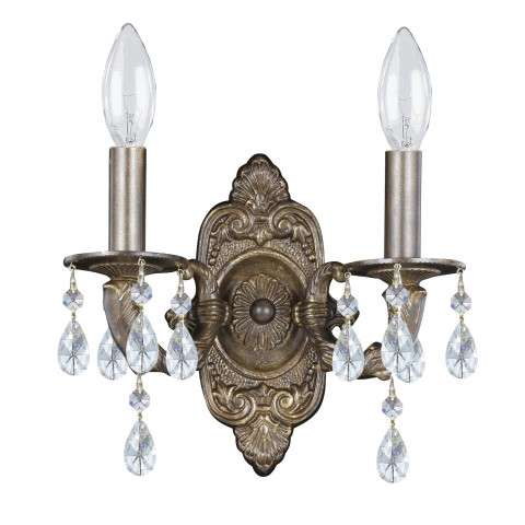 Sutton 2 Light Elements Crystal Bronze Sconce