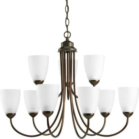 Progress P4627-20EBWB Nine-light Chandelier in Antique Bronze finish with etched glass.