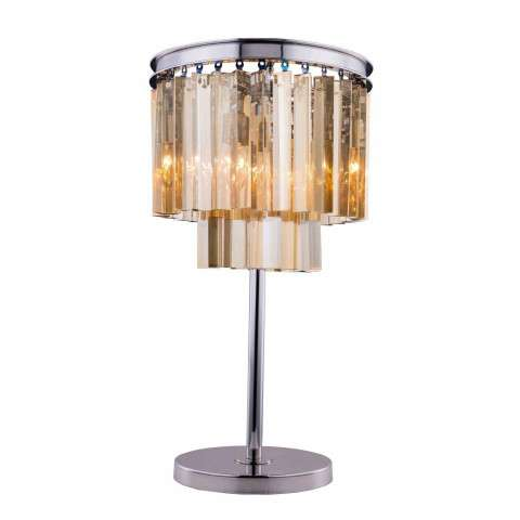 "1201 Sydney Collection Table Lamp D:14"" H:26"" Lt: Polished nickel Finish (Royal Cut Golden Teak  Crystals)"