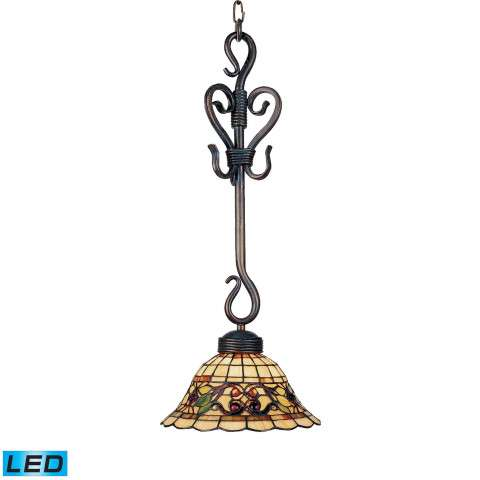 Tiffany Buckingham 1-Light Pendant In Vintage Antique With Tiffany Style Glass - LED Offering Up …