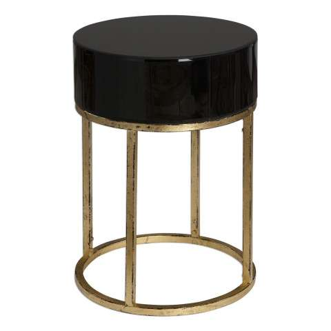 Uttermost Myles Curved Black Accent Table
