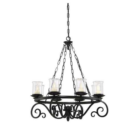 Welch 8 Light Outdoor Chandelier in Black with Clear Seeded Glass