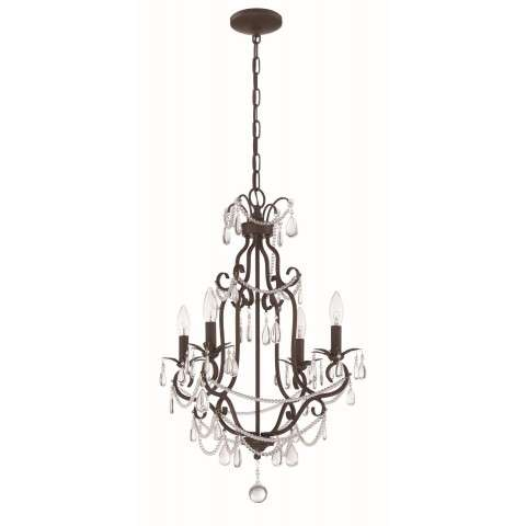 4 Light Mini Chandelier in Aged Bronze Textured