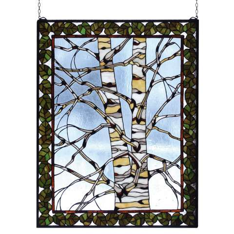 Meyda Tiffany 73265 Birch Tree In Winter Stained Glass Window in Bark Brown finish