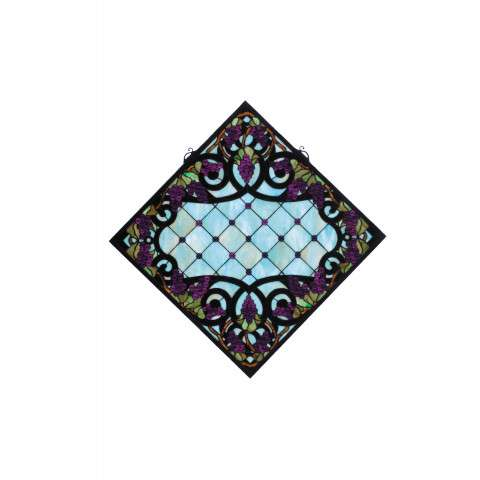 Meyda Tiffany 67143 Jeweled Grape Stained Glass Window in Bark Brown finish