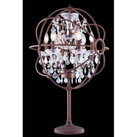 "1130 Geneva Collection Table Lamp D:22"" H:34"" Lt:6 Rustic Intent Finish (Royal Cut  Crystals)"