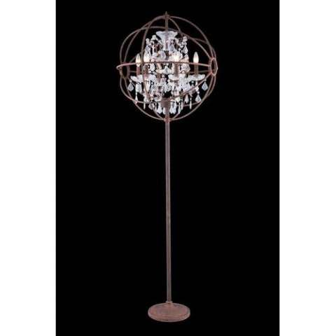 "1130 Geneva Collection Floor Lamp D:24"" H:71.5"" Lt:6 Rustic Intent Finish (Royal Cut  Crystals)"