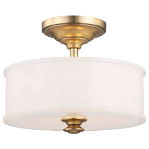 Minka Lavery 2 Light Semi Flush In Liberty Gold Finish W/ Etched White Glass