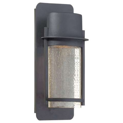 The Great Outdoors 1 Light Wall Mount In Black Finish W/ Clear Seeded Glass Shade