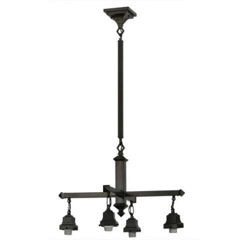 "24"" W Craftsman Brown On Brass 4 Lt Chandelier Hardware. Custom Crafted In Yorkville - New York Please Allow 30 Days"
