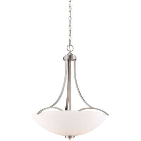 Minka Lavery 3 Light Pendant in Brushed Nickel Finish w/ Etched Opal Glass