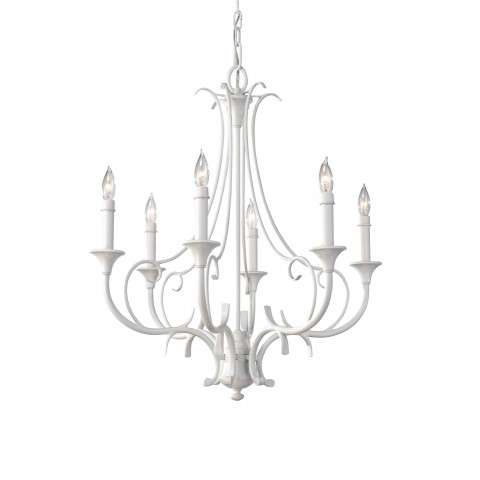 Peyton Saltspray 6 Bulb Semi Gloss White Chandelier