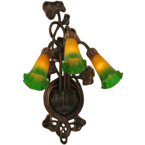 Meyda Tiffany 17158 Amber/Green Pond Lily 3 Lt Wall Sconce in Mahogany Bronze finish