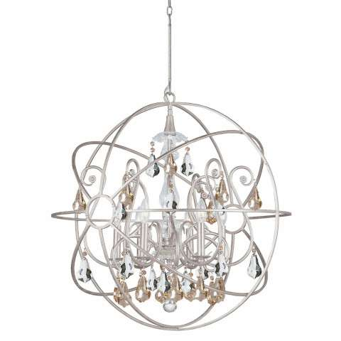 Crystorama 9028-OS-GS-MWP Chandelier with hand-painted wrought iron sphere and a crystal chandelier dressed with golden shade hand-cut crystals.