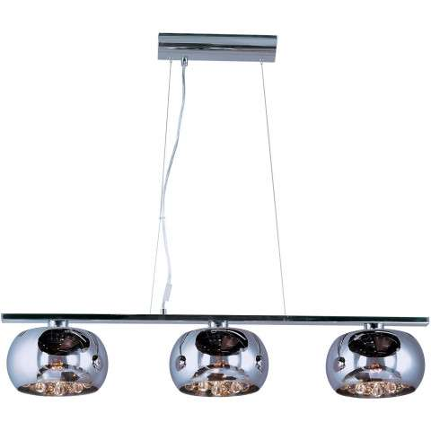 ET2 Contemporary Lighting E21204-10PC Sense 3-light Linear Pendant in Polished Chrome finish with Mirror Chrome glass