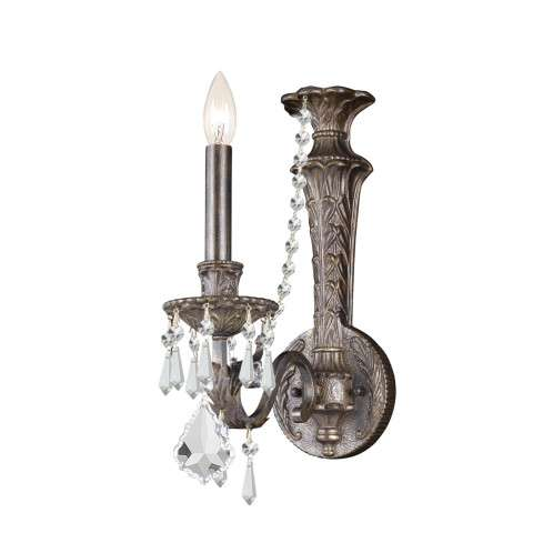 Crystorama 5160-EB-CL-MWP Wrought Iron Hand Cut Lead Crystal Sconce