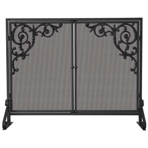 "Single Panel Olde World Iron Screen With Doors & Cast Scrolls - 39"" Wide x 31"" Tall"