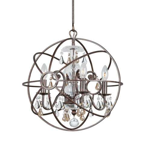 Crystorama 9025-EB-GS-MWP Chandelier with hand-painted wrought iron sphere and a crystal chandelier dressed with golden shade hand-cut crystals.