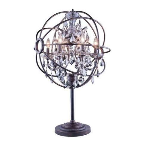 "1130 Geneva Collection Table Lamp D:22"" H:34"" Lt: Dark Bronze Finish (Royal Cut Silver Shade Crystals)"