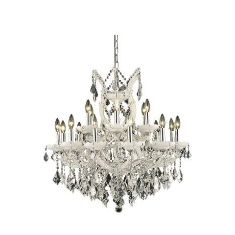 2800 Maria Theresa Collection Hanging Fixture D30in H28in Lt:18+1 White Finish (Elegant Cut Crystal)